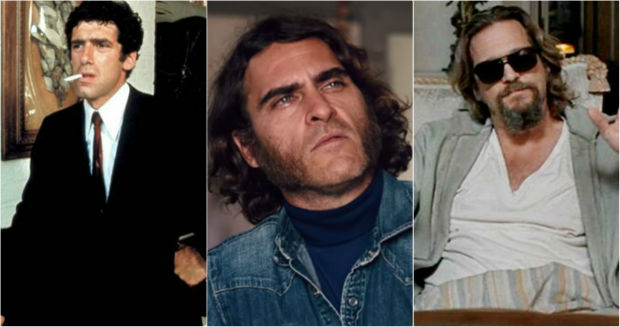 Elliott Gould in The Long Goodbye, Joaquin Phoenix in Inherent Vice, and Jeff Bridges in The Big Lebowski.
